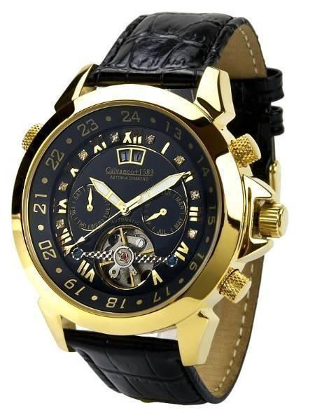 VK: 1.349,- Euro . Calvaneo 1583 ASTONIA DIAMANT GOLD UHR AUTOMATIK CHRONOGRAPH. Брендовые золотые часы