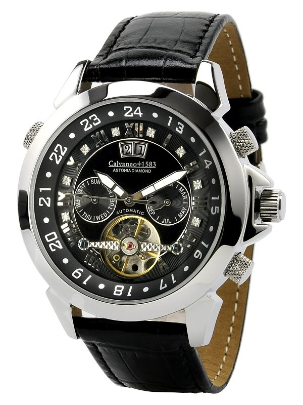calvaneo 1583 astonia diamond steel black automatik watch